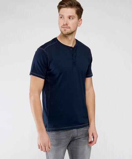 short sleeve henley tee, Navy, hi-res