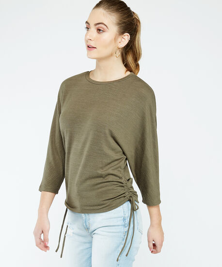 ruched tie top, Green, hi-res