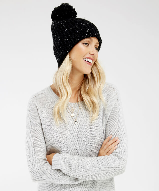 oversized speckled beanie, BLACK, hi-res