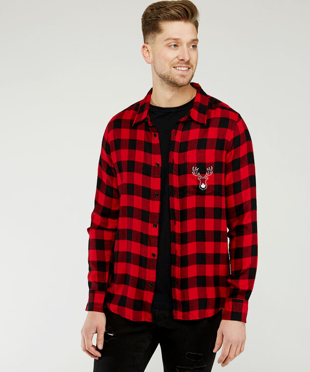 plaid shirt with reindeer embroidery, Red plaid, hi-res