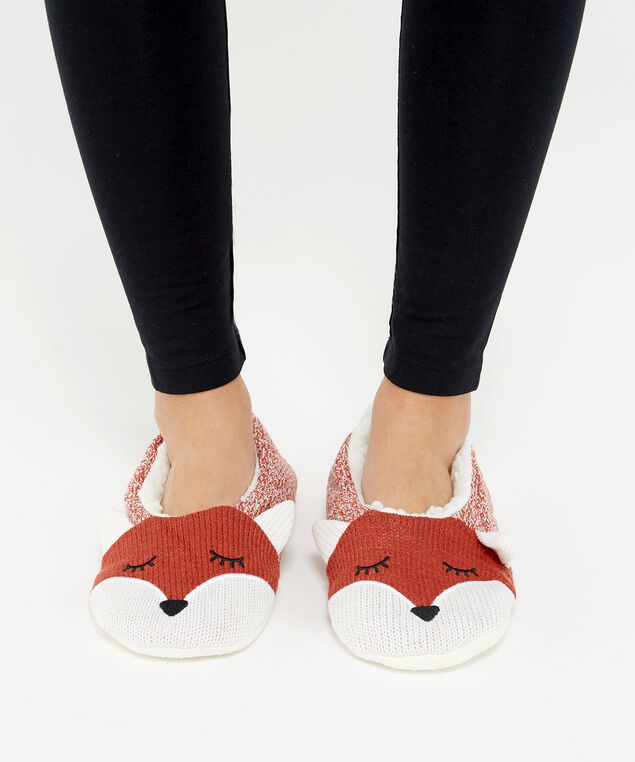 fox slipper sock, orange fox, hi-res