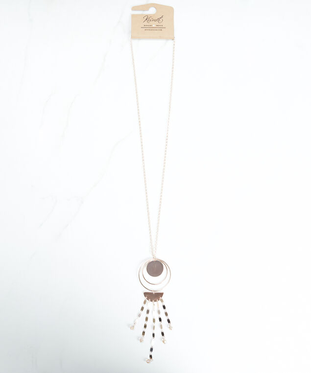 circle hoop pendant necklace, Rose