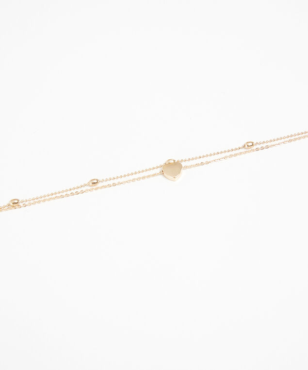 double strand heart anklet, Gold, hi-res