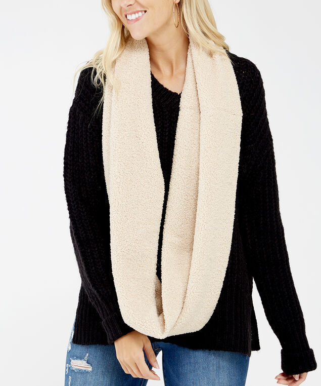infinity teddy scarf, Natural, hi-res