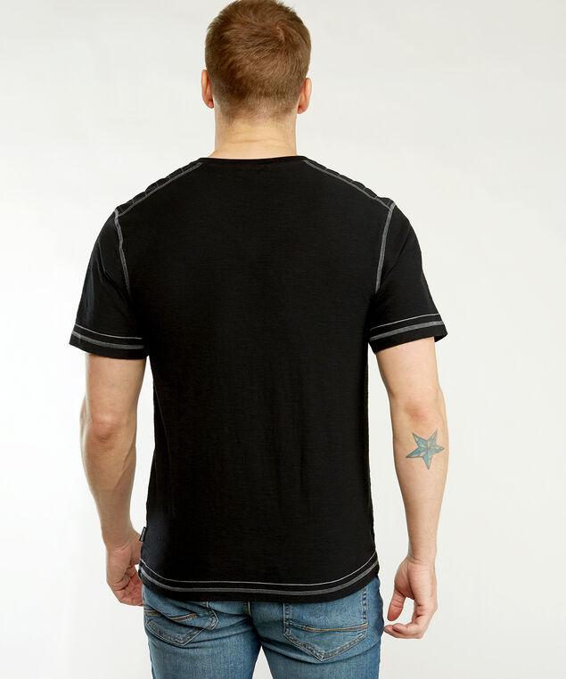 short sleeve contrast stitch tee, Black