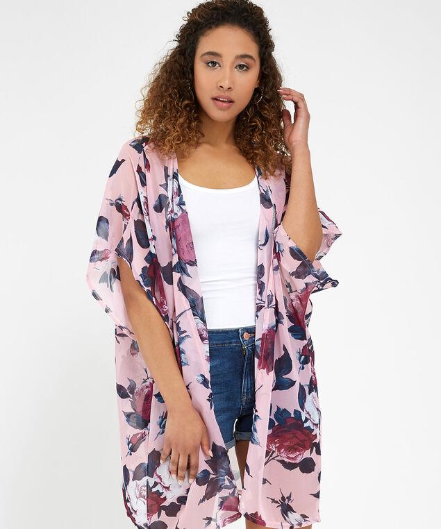 pink combo floral print kimono, PINK COMBO, hi-res