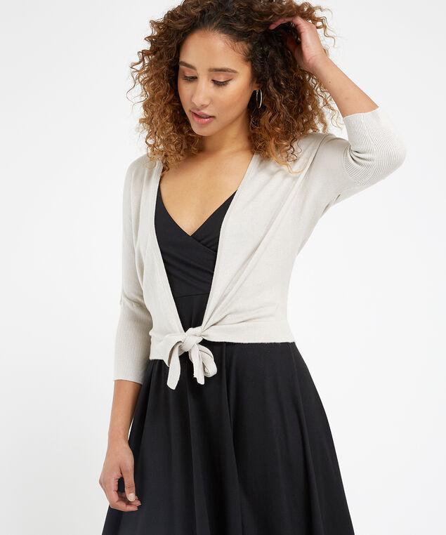 tie front cardigan - wb, LINEN, hi-res