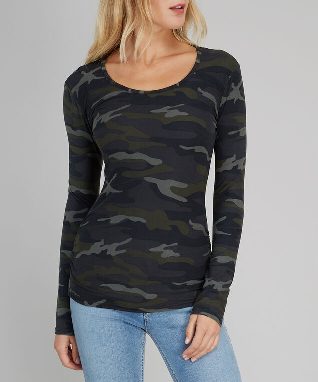 brushed long sleeve tee - wb, GREEN CAMO, hi-res
