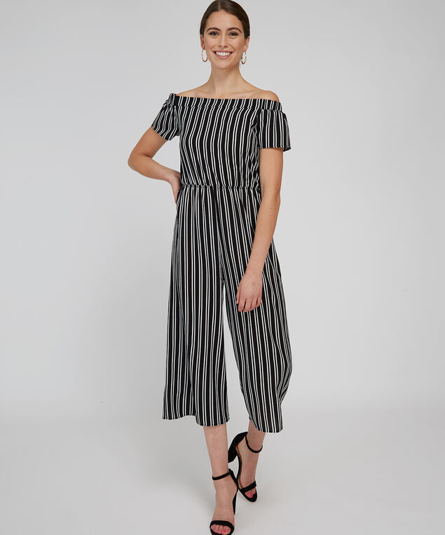 off shoulder striped jumpsuit - wb, BLACK WHITE STRIPE, hi-res