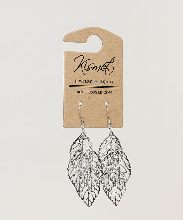 multi leaf earring, SILVER, hi-res
