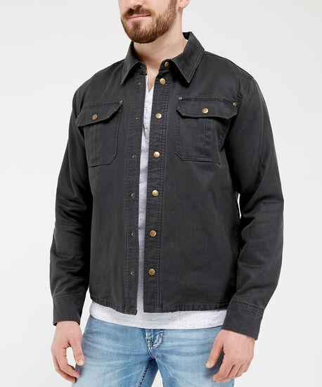 waxed cotton shirt jacket, Dark Green, hi-res
