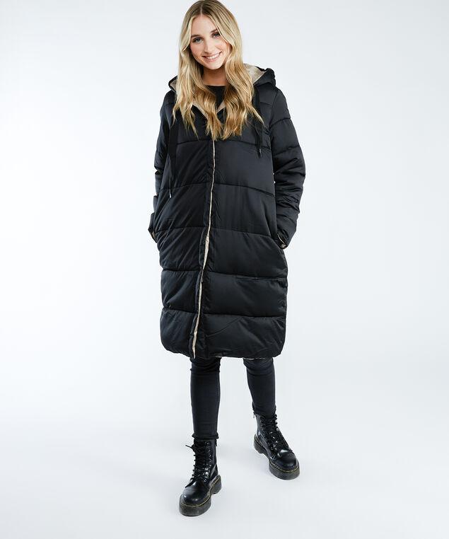 reversible puffer jacket, Black