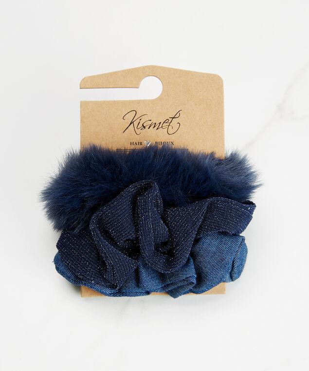Set of 3 hair scrunchies, Blue, hi-res