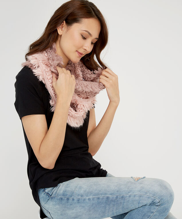 two tone knit infinity scarf, PEACH/ROSE, hi-res