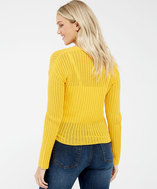 tie front pointelle stitch cardigan - wb, Yellow, hi-res