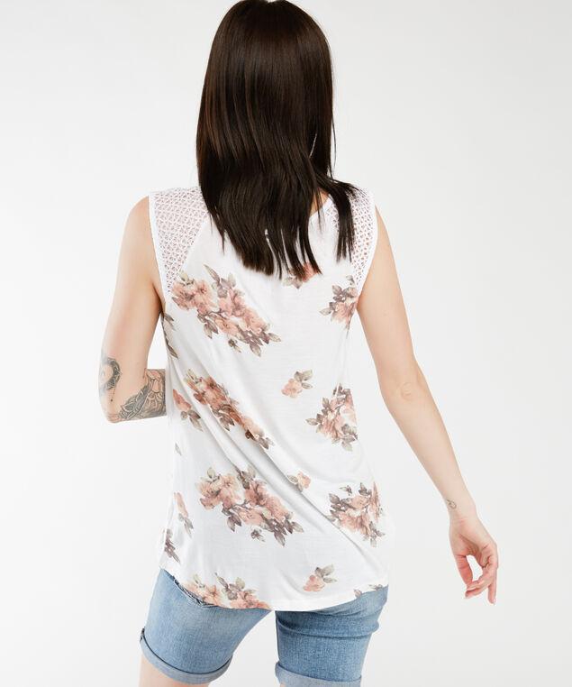 crochet shoulder tank top, White Floral