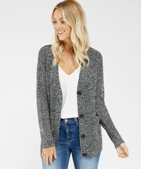 button front cardigan - wb, Grey, hi-res