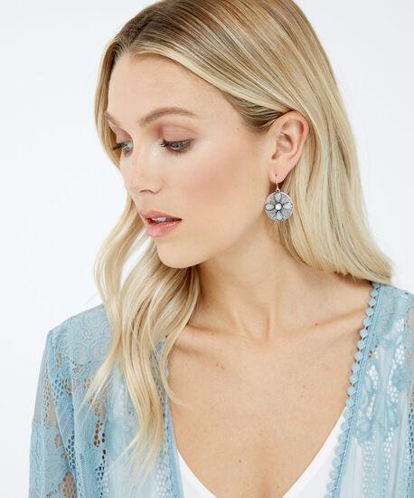 flower disc drop earrings, Silver, hi-res