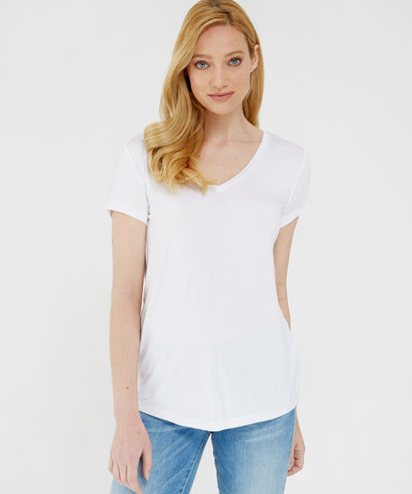 paige core v neck, WHITE, hi-res