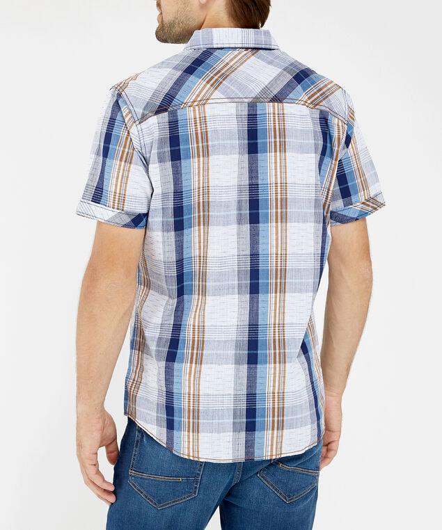 short sleeve plaid shirt - wb, WINE, hi-res