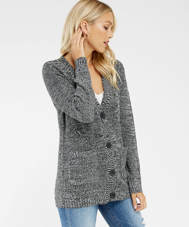 button front cardigan - wb, Grey, hi-res