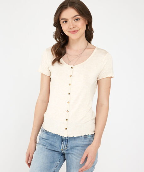 button front tee - wb, NATURAL, hi-res