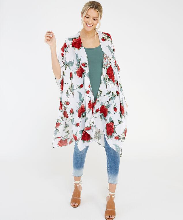 large floral kimono, ivory, hi-res