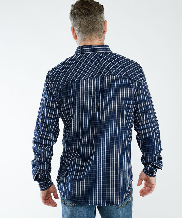 ls snap front plaid shirt, Navy
