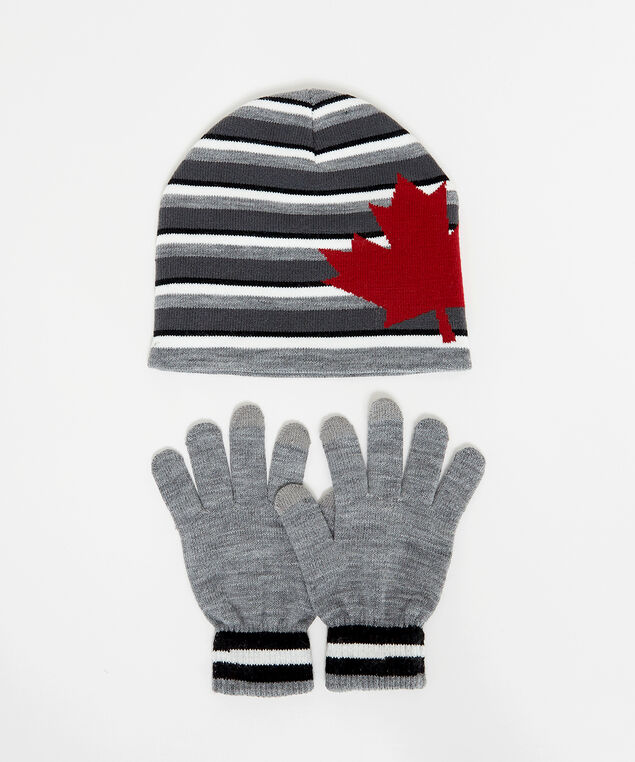 maple leaf hat and glove set, grey pattern, hi-res
