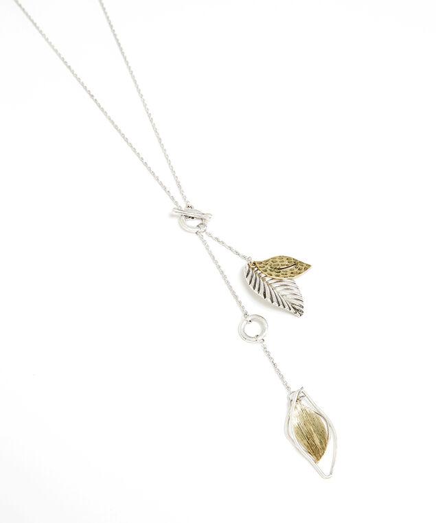 lariat brushed leaf necklace, gold/silver, hi-res