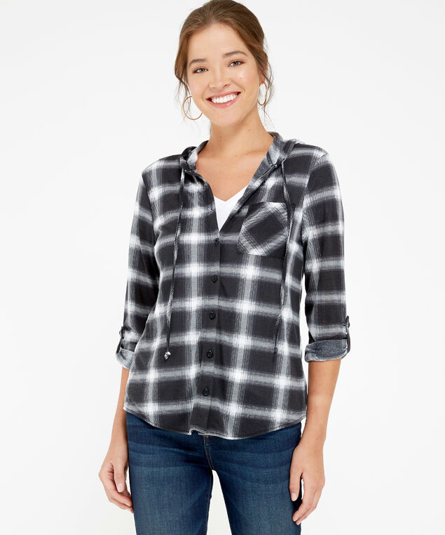 hooded plaid shirt - wb, WHITE/BLACK, hi-res