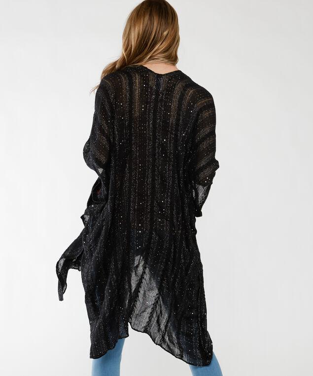sequined black kimono, Black