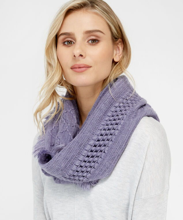 popcorn knit infinity scarf, LILAC, hi-res