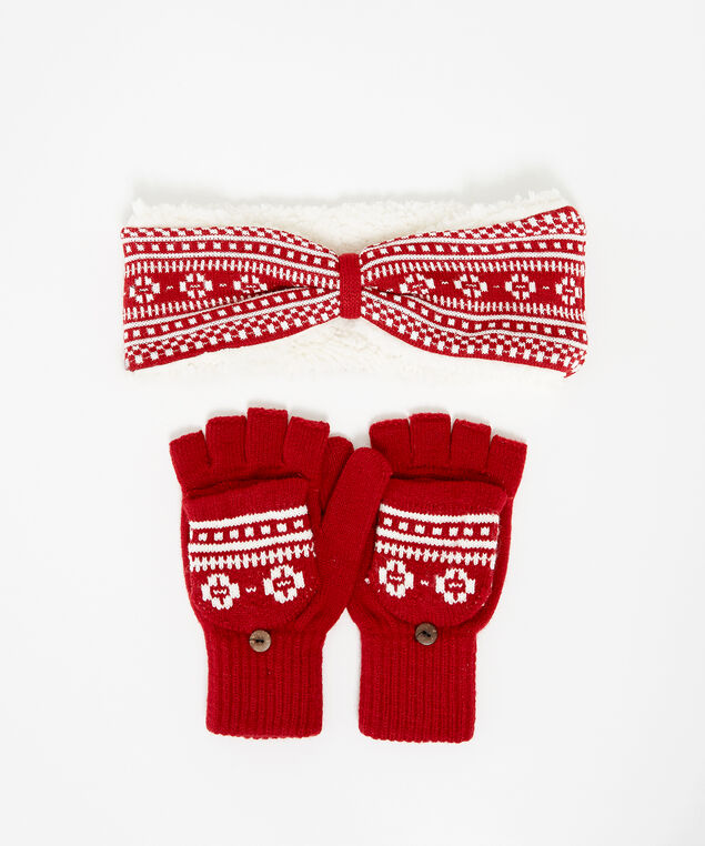 two piece knit set, RED, hi-res