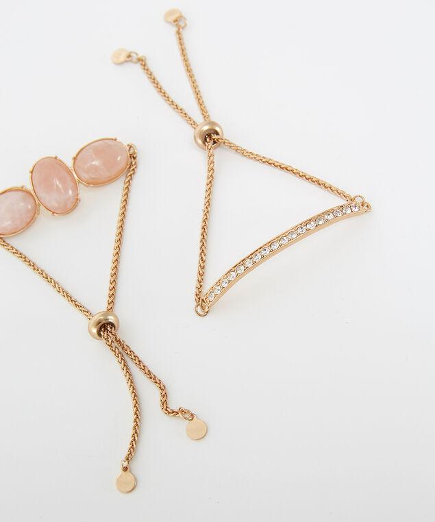 stone bracelet set, GOLD, hi-res