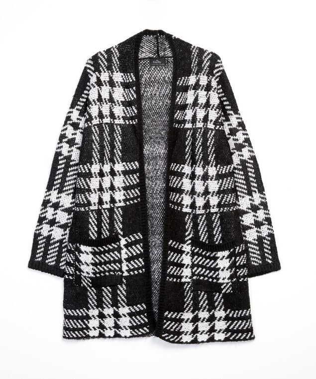 check cardigan - wb, White/Black, hi-res