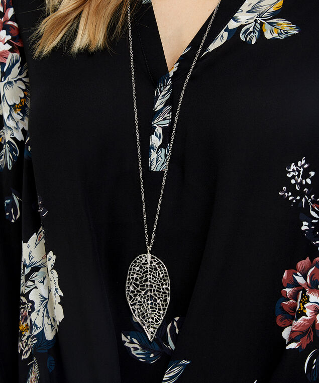 long leaf pendant necklace, SILVER, hi-res