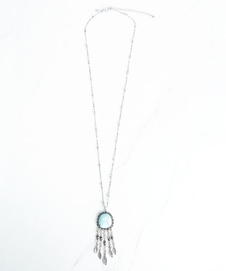 pendant necklace with fringe, Silver, hi-res