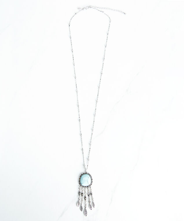 pendant necklace with fringe, Silver