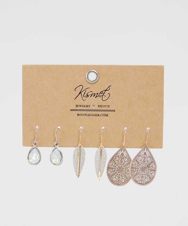 3 pack of earrings, SILVER, hi-res