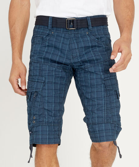 belted twill plaid cargo short - wb, NAVY, hi-res