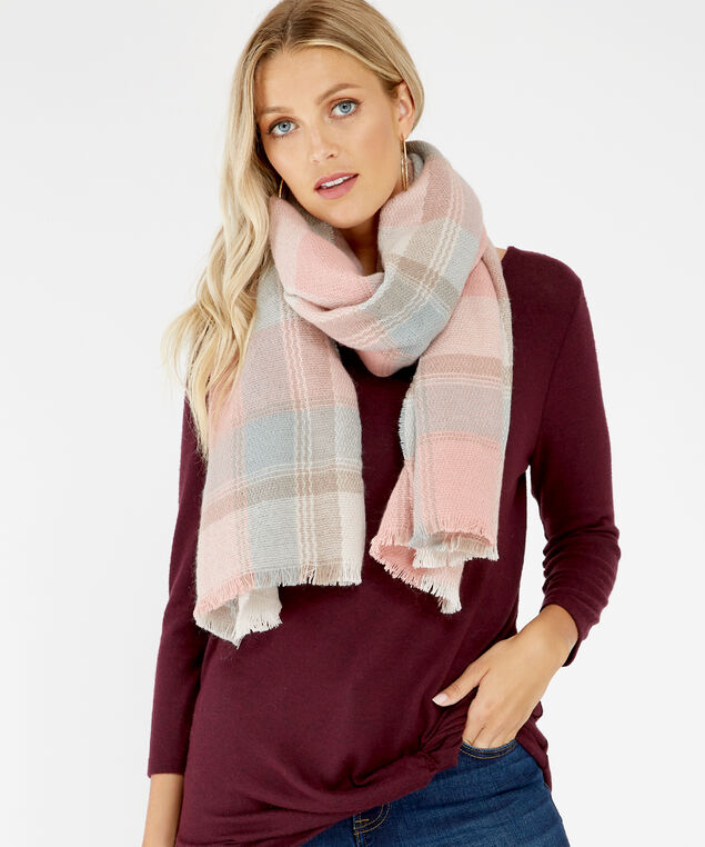 pink blanket plaid scarf, Pink, hi-res
