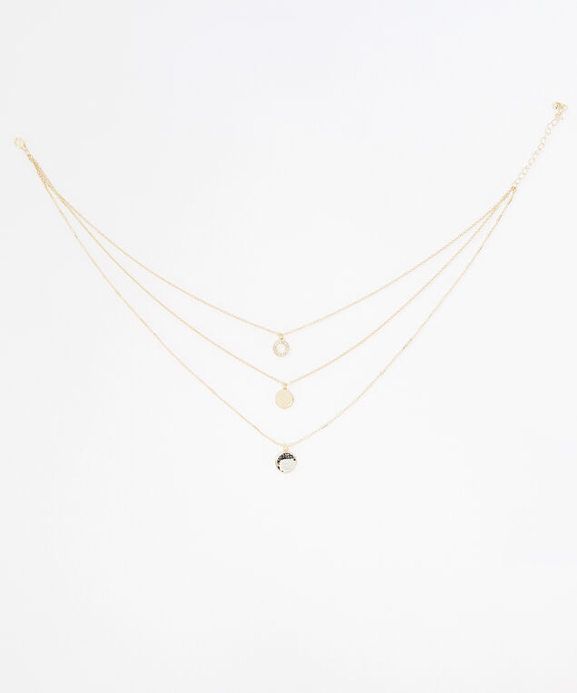 triple layer pendant necklace, GOLD, hi-res