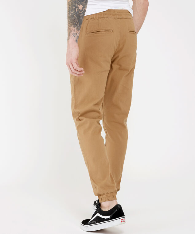 men's basic jogger, DARK TAN