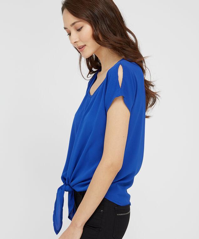 tie front top with slit shoulder - wb, BLUE, hi-res