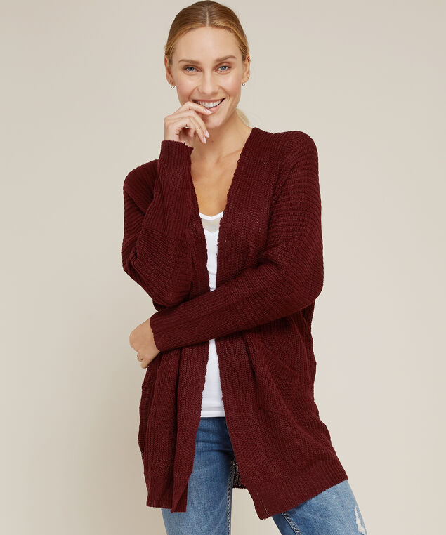 cardigan with slanted front pockets - wb, TAWNY PORT, hi-res