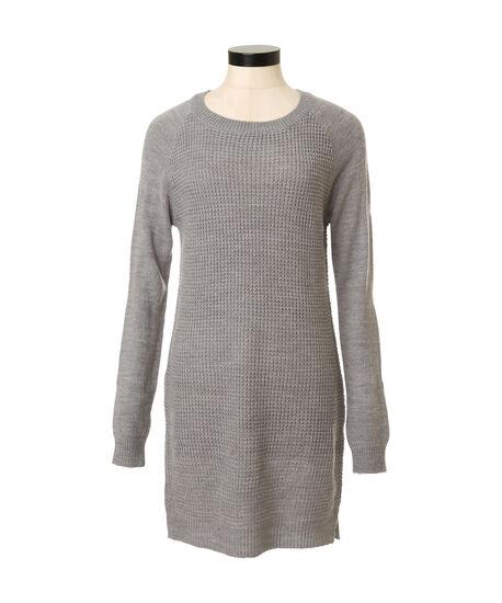 waffle sweater dress, GREY MELANGE, hi-res