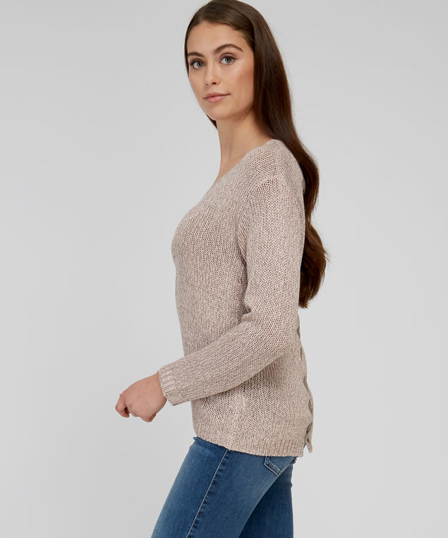 sweater with lace up back - wb, PINK CLOUD, hi-res