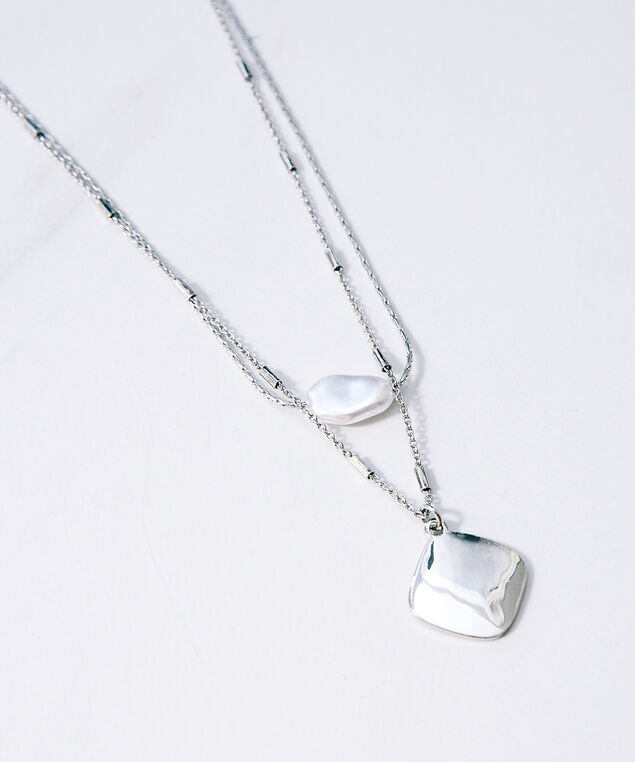 irridescent bead and solid pendant, Silver, hi-res