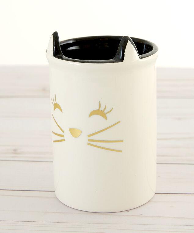 ceramic cat makeup brush pot - wb, WHITE, hi-res
